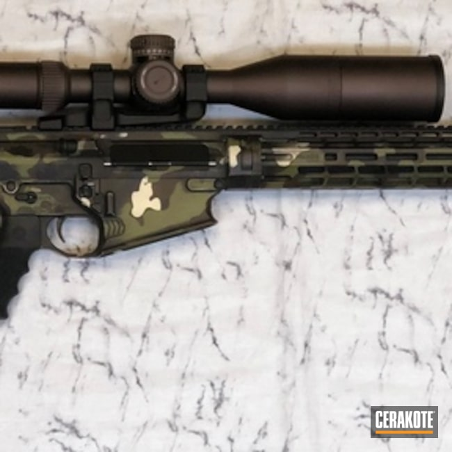Cerakoted: SHOT,Woodland Camo Pattern,Battleworn,Woodland Camo,Gen II Graphite Black HIR-146,Patriot Brown H-226,.300 Winchester Magnum,Tactical Rifle,Gun Coatings,Falkor Defence,Light Sand H-142