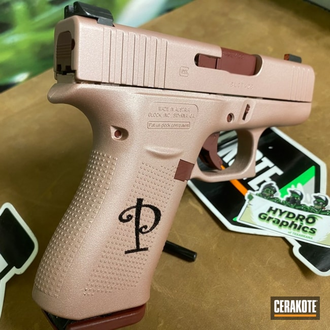 Mobile-friendly version of the 1st project picture. Laser Engrave, Pistol, Compact, SHOT, Girls Gun, Glock 43, Burgundy, Gun Coatings, Rose Gold H-327Q