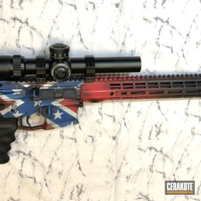Cerakoted: Hidden White H-242,SHOT,Aero Precision,NRA Blue H-171,Battleworn,Confederate Flag,Tactical Rifle,Gun Coatings,SMITH & WESSON® RED H-216,AR-15