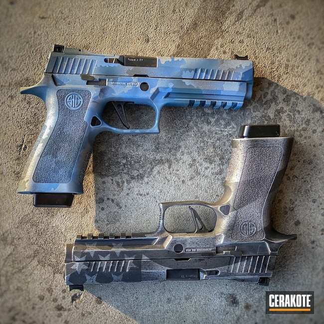 Cerakoted: SHOT,Reaper,NORTHERN LIGHTS H-315,Crushed Silver H-255,Camo,Pistol,Sig Sauer,Firearms,Custom Camo,POLAR BLUE H-326