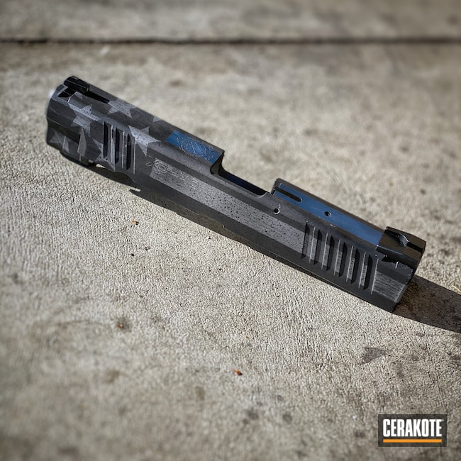 Cerakoted: S.H.O.T,Flag,Thin Blue Line,American Flag,Firearms,Slide,Cobalt H-112,Graphite Black H-146,Distressed American Flag,Crushed Silver H-255,Springfield XD,KEL-TEC® NAVY BLUE H-127,Springfield Armory