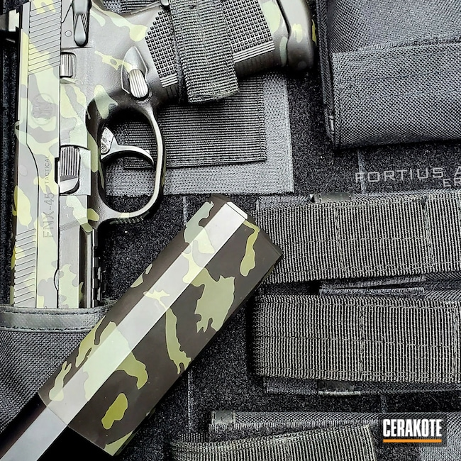 Cerakoted: S.H.O.T,Sniper Green H-229,Graphite Black H-146,FNH,Gun Coatings,SIG™ DARK GREY H-210,Pistols