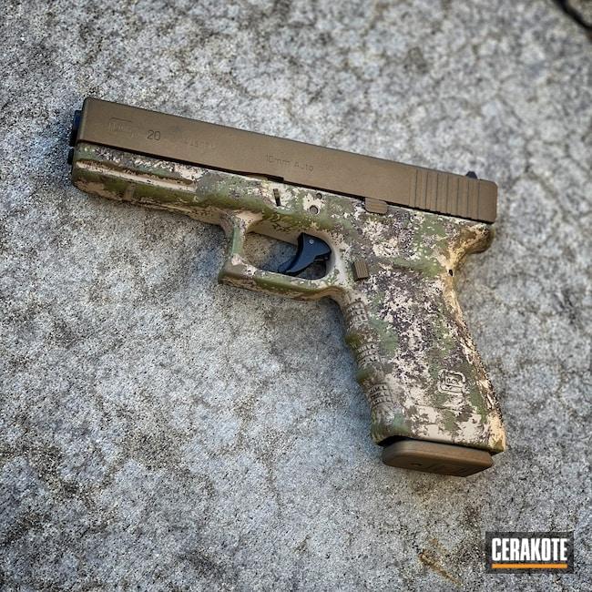Cerakoted: S.H.O.T,Glock 21,Pistol,Firearms,Noveske Bazooka Green H-189,Hells Canyon,ATACS,Desert Sand H-199,Burnt Bronze H-148,Glock,ATACS Camo,Gun Coatings,Glock 20,Chocolate Brown H-258
