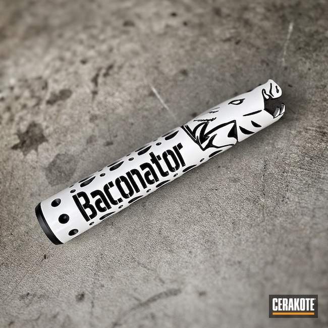 Cerakoted: SHOT,Baconator,BLACKOUT E-100,Stormtrooper White H-297,Gun Coatings,Firearms,Unique-Ars