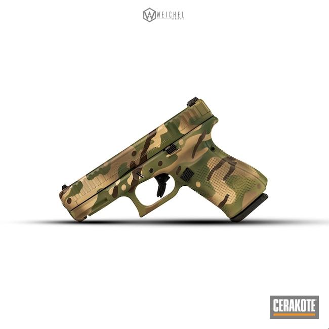 Cerakoted: Pistol,Firearms,SHOT,Glock 44,Highland Green H-200,MultiCam,Desert Sand H-199,Patriot Brown H-226,Camo,Glock,Gun Coatings,G44,Military