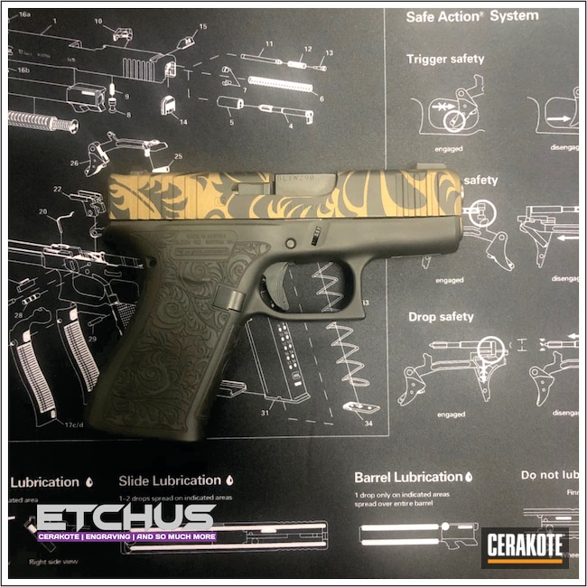 Cerakoted: S.H.O.T,Glock 43X,Burnt Bronze H-148,Armor Black H-190,Pistol,Glock,Gun Coatings,Glock 43