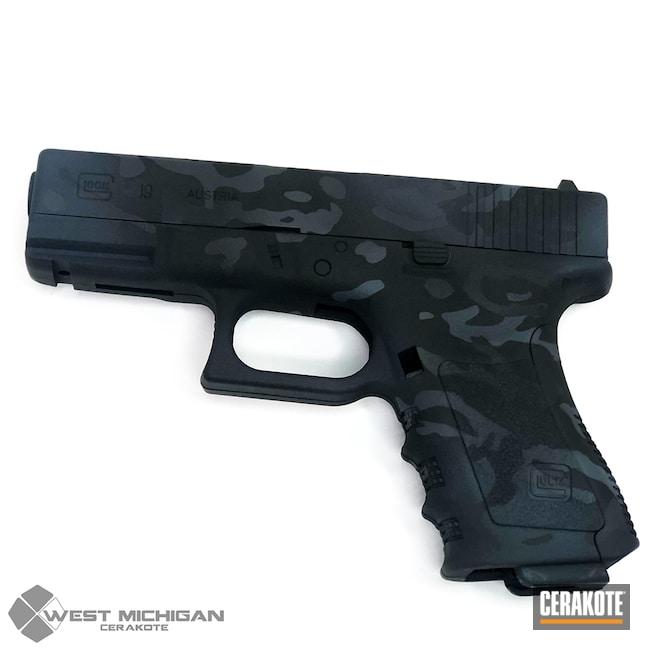 Cerakoted: Glock 19,MultiCam,Camo,Armor Black H-190,Pistol,Glock,Firearms,Gun Coatings,WMCamo,Custom Camo