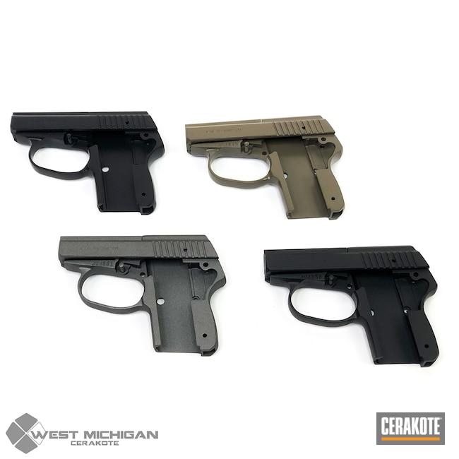 Cerakoted: S.H.O.T,Sniper Grey H-234,Bulk,Firearm,Burnt Bronze H-148,Armor Black H-190,Firearms,Gun Coatings,Production,Pistol Frame