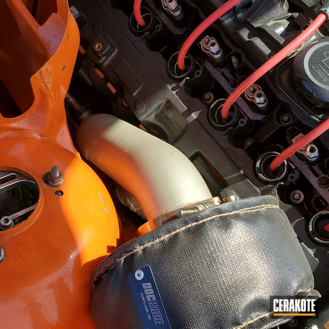 Cerakoted: CERAKOTE GLACIER GOLD C-7800,CERAKOTE GLACIER TITANIUM C-7900,Straight 6,BMW,Turbo Manifold,Automotive,Drift,Turbo,Drifting,Race Car,E30