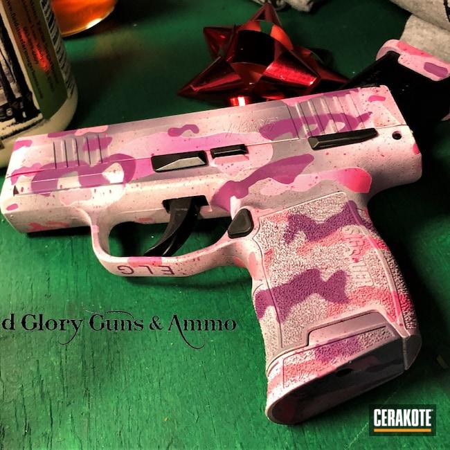 Cerakoted: SHOT,Snow White H-136,Bright Purple H-217,p365,Firearm,SIG™ PINK H-224,Pistol,Sig Sauer,SIG™ DARK GREY H-210