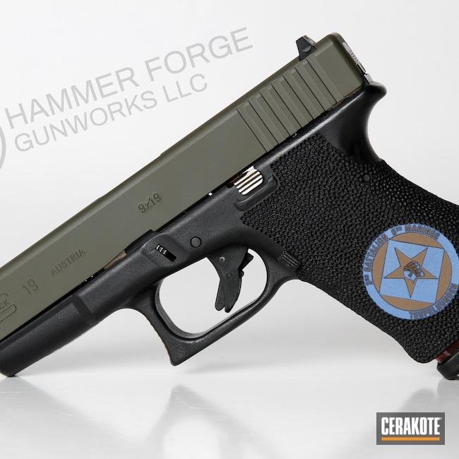 Cerakoted: SHOT,Glock 19,Laser Stippled,KEL-TEC® NAVY BLUE H-127,Pistol,Glock,Laser Engrave,POLAR BLUE H-326