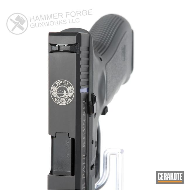 Cerakoted: SHOT,Thin Blue Line,Graphite Black H-146,Pistol,Glock,Glock 17,Laser Engrave,Handguns