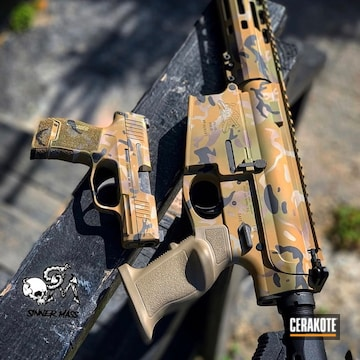 Cerakoted Custom Camo Matching Rifle And Handgun