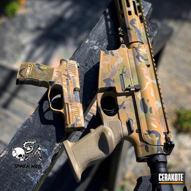 Cerakoted: Custom Mix,Rifle,Palmetto State Armory,Custom Paint,combo,p365,Pistol,Sig Sauer,Sig,Noveske Bazooka Green H-189,Laser Engrave,.308,Matching Set,Custom Camo,Noveske Tiger Eye Brown H-187,SHOT,MultiCam,Graphite Black H-146,VORTEX® BRONZE H-293,AR-10,MCMILLAN® TAN H-203
