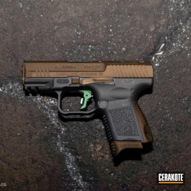 Cerakoted: SHOT,9mm,Canik,Burnt Bronze H-148,Tungsten H-237,Pistol