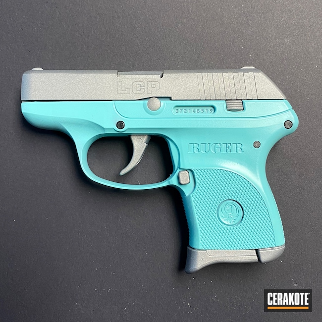 Cerakoted: SHOT,Robin's Egg Blue H-175,Ruger,Two Tone,.380,Crushed Silver H-255
