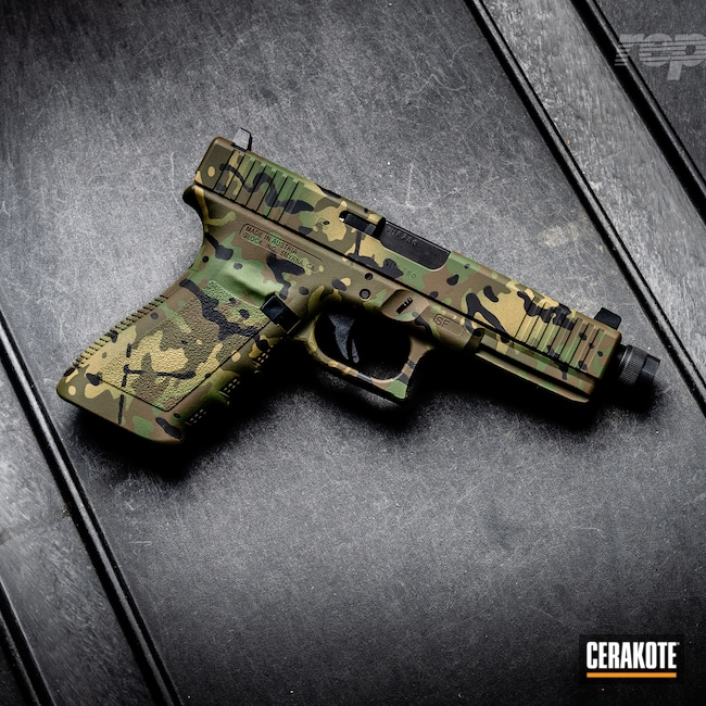 Cerakoted: SHOT,Highland Green H-200,Graphite Black H-146,G21,Camo,MAGPUL® FDE C-267,Pistol,Glock,Chocolate Brown H-258