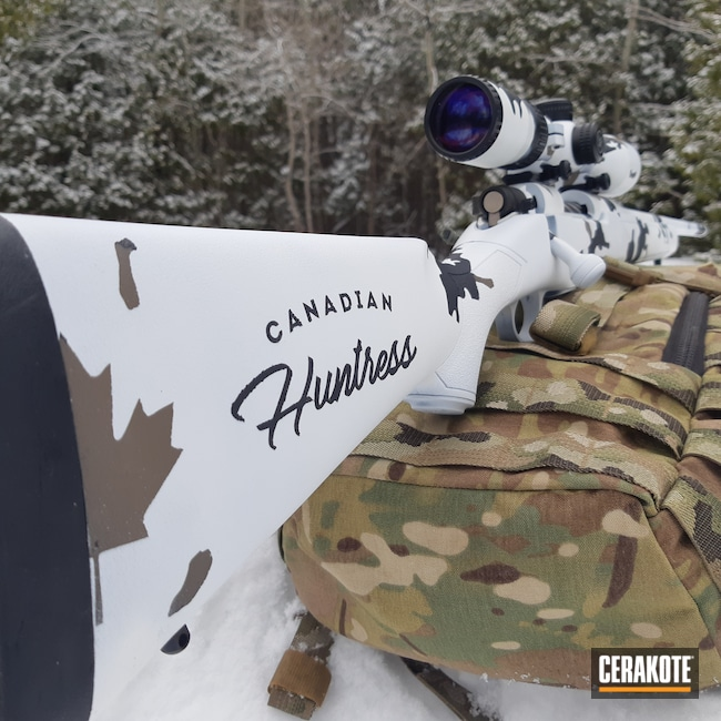 Cerakoted: Bright White H-140,S.H.O.T,Bolt Action Rifle,Patriot,MAGPUL® FLAT DARK EARTH H-267,Gen II Graphite Black HIR-146,Mossberg,Snow Camo