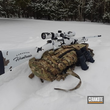 Cerakoted Snow Camo Bolt Action Rifle