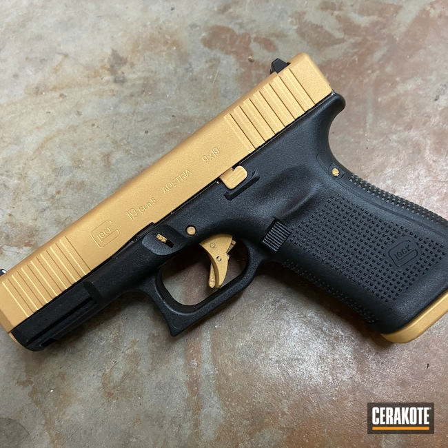 Cerakoted: SHOT,Glock 19,Pistol,Glock,Glock Gen 5,Gold H-122