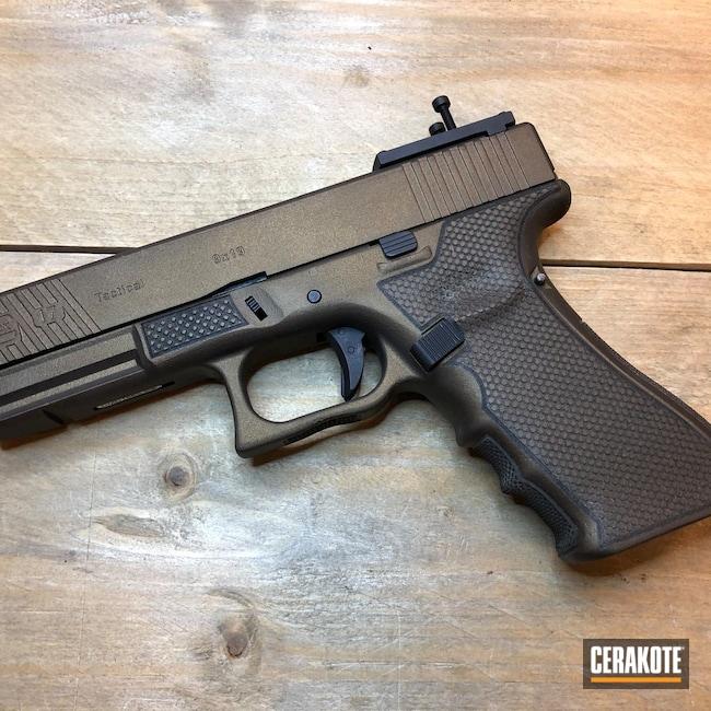 Cerakoted: SHOT,Laser Stippled,Airsoft,Glock 17,Midnight Bronze H-294