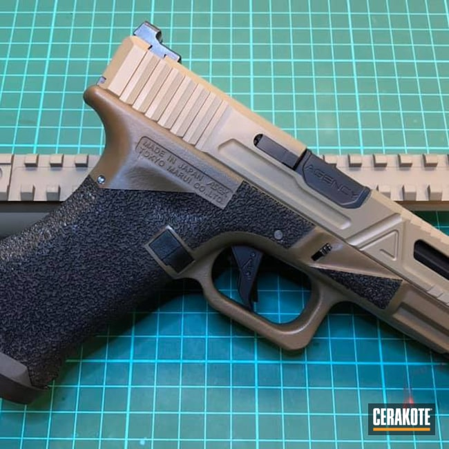Cerakoted: SHOT,Laser Stippled,MAGPUL® FLAT DARK EARTH H-267,Patriot Brown C-226,Airsoft,Glock 17,Agency Arms