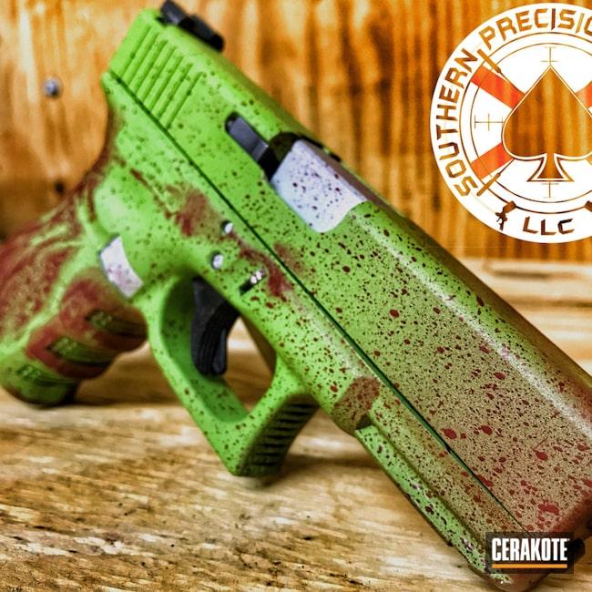 Cerakoted: S.H.O.T,Blood Splatter,Zombie Killer,Zombie,Zombie Splatter,Zombie Green H-168,Crimson H-221,Glock 23,Satin Aluminum H-151,Glock,Firearms,Handgun