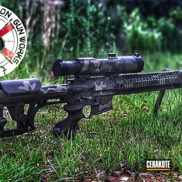 Cerakoted Woodland Camo Ar-15 Rifle