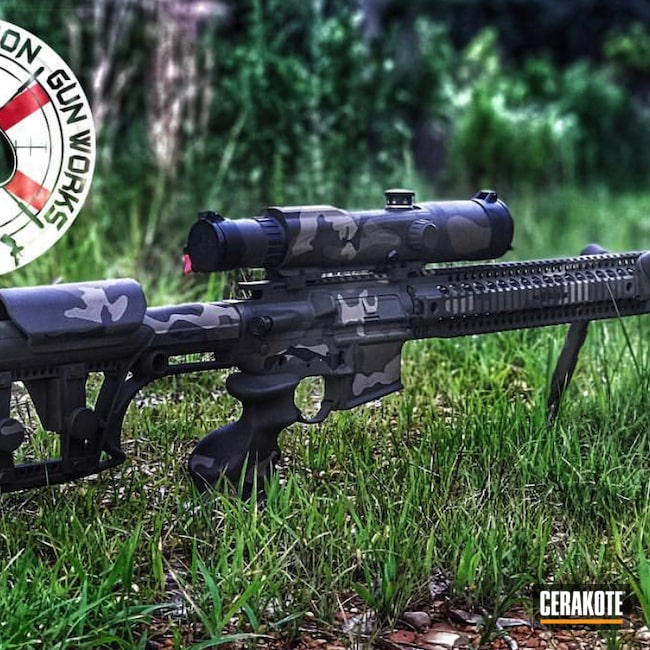Cerakoted: SHOT,Coyote Tan H-235,Scope,Graphite Black H-146,Woodland Camo,Firearm,Patriot Brown H-226,Bipod,O.D. Green H-236,Camouflage,spgw,AR-15