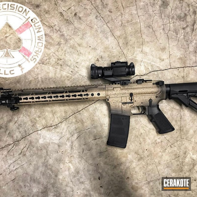 Cerakoted: SHOT,Two-Color Fade,Shades,Graphite Black H-146,Desert Sand H-199,Firearm,Anderson,Custom built AR,Tactical Rifle,AR-15