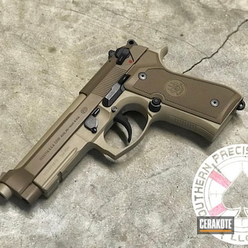 Cerakoted Two Toned Beretta 92fs In H-199 And H-269