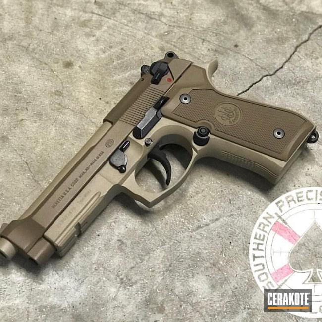 Cerakoted: SHOT,Desert Sand H-199,Two Tone,BARRETT® BROWN H-269,Firearm,Pistol,Beretta,92FS,Beretta 92 Cerakote,Handgun