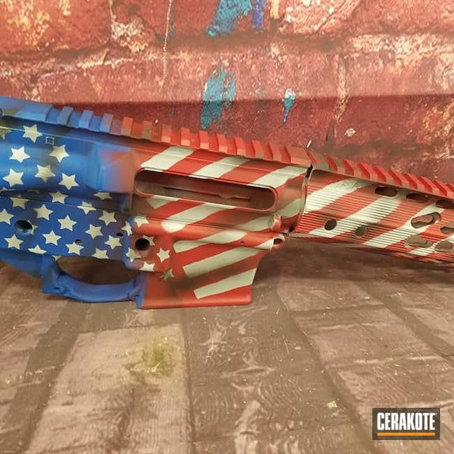 Cerakoted: SHOT,Patriot,NRA Blue H-171,Snow White H-136,Distressed American Flag,Upper / Lower / Handguard,Distressed Flag,Satin Aluminum H-151,Armor Black H-190,Tactical Rifle,SMITH & WESSON® RED H-216,AR-15