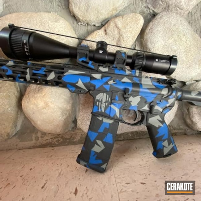 Cerakoted: Punisher,Skull,NRA Blue H-171,Graphite Black H-146,Crushed Silver H-255,Camo,Tactical Rifle,American Flag,Custom Camo,AR-15