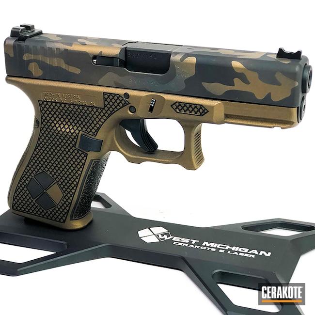 Cerakoted: Stippling,Engraved,Laser Stippling,Pistol,Firearms,Slide,Custom Camo,Pistol Frame,SHOT,Glock 19,MultiCam,Firearm,Burnt Bronze H-148,Camo,Glock,Laser Engraved,Custom Glock Slide