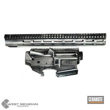 Cerakoted Black And Silver Distressed Ar Parts