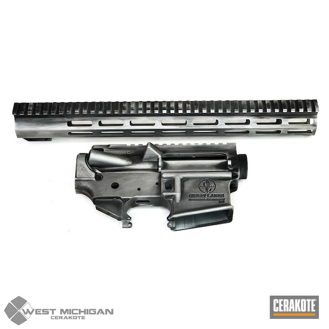 Cerakoted: S.H.O.T,Battleworn,AR,Distressed,Upper / Lower / Handguard,Firearm,Satin Aluminum H-151,Firearms