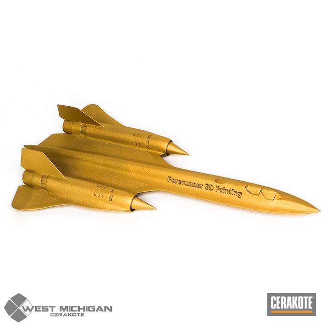 Cerakoted: 3d Print,Model Plane,Airplane,USMC Red H-167,3d Printed Plane,Armor Black H-190,Forest Green H-248,SR-71 Blackbird,Gold H-122