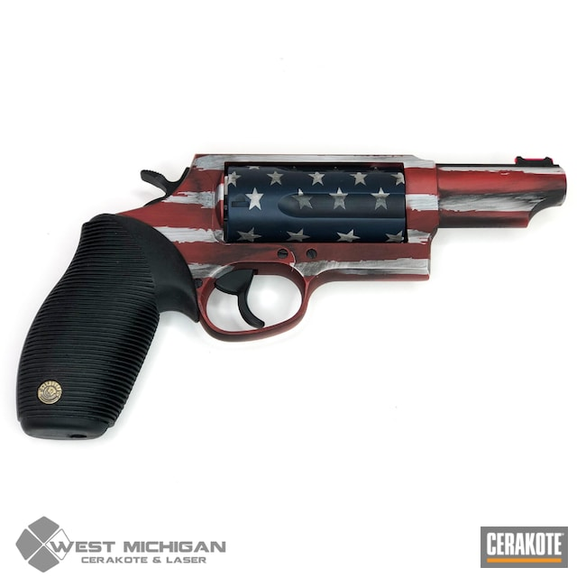 Cerakoted: Hidden White H-242,Battleworn Flag,Graphite Black H-146,Revolver,Distressed American Flag,Firearm,Crimson H-221,KEL-TEC® NAVY BLUE H-127,American Flag,Taurus,Firearms,Stars and Stripes