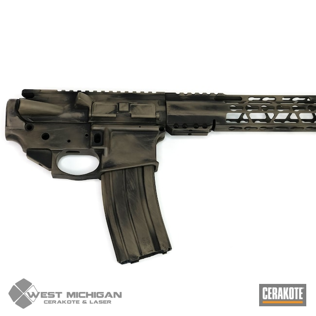 Cerakoted: SHOT,Battleworn,Graphite Black H-146,AR,Distressed,Firearm,Tactical Rifle,Firearms,Flat Dark Earth H-265