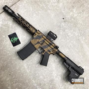 Cerakoted Tiger Stripe Camo Matching Shotgun And Ar