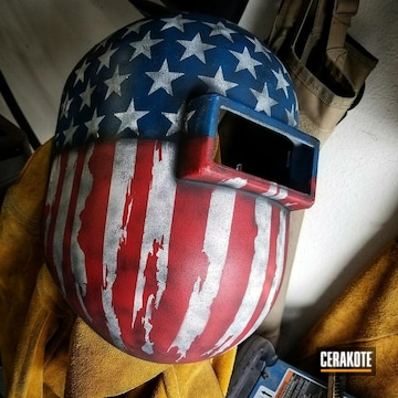 Cerakoted American Flag Welding Helmet In H-146, H-297, H-167 And H-169