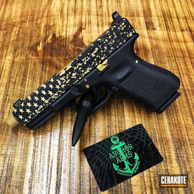 Cerakoted: SHOT,Flag,Graphite Black H-146,Splatter,Pistol,Glock,Gold H-122