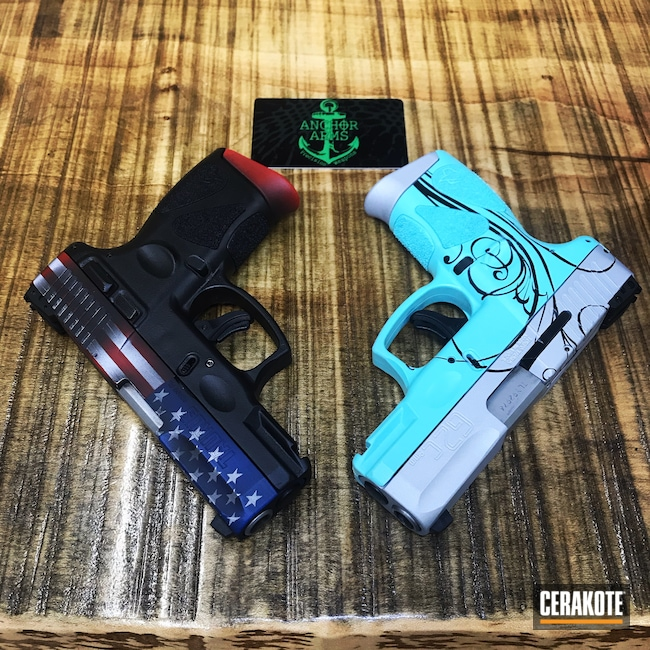 Cerakoted: Bright White H-140,SHOT,NRA Blue H-171,Robin's Egg Blue H-175,Graphite Black H-146,USMC Red H-167,Crushed Silver H-255,Pistol