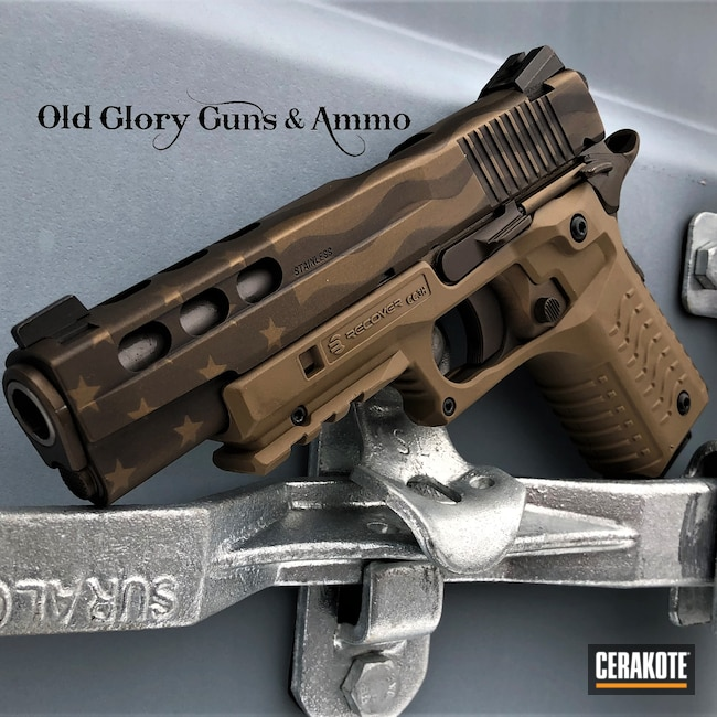Cerakoted: S.H.O.T,Graphite Black H-146,Burnt Bronze H-148,Pistol,American Flag,Sig Sauer,1911,Midnight Bronze H-294,45 ACP