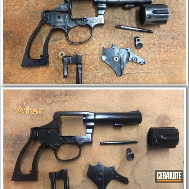 Cerakoted: S.H.O.T,Gloss Black H-109,Smith & Wesson,Revolver,Before and After