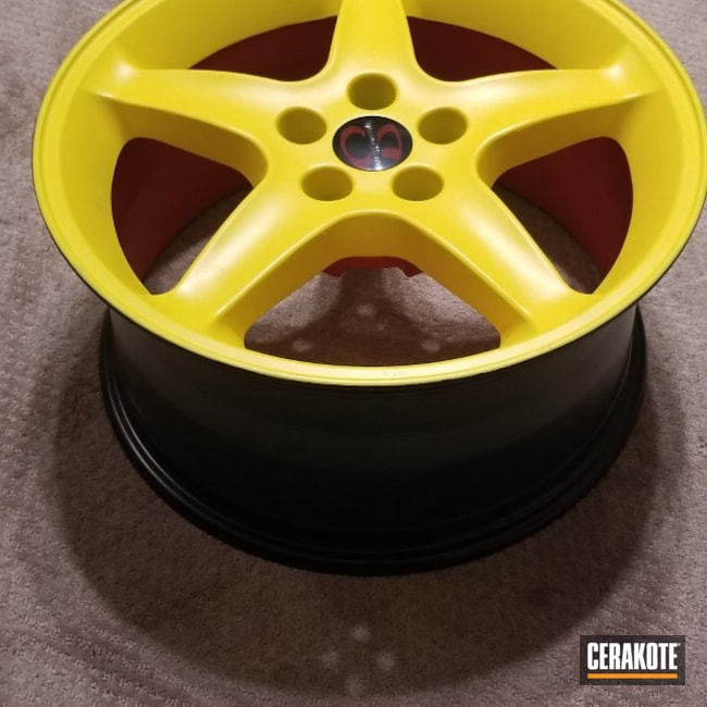 Cerakoted: Decorative Wheel,Electric Yellow H-166,BLACKOUT E-100,Custom Wheel,Automotive,STOPLIGHT RED C-143,Wheels