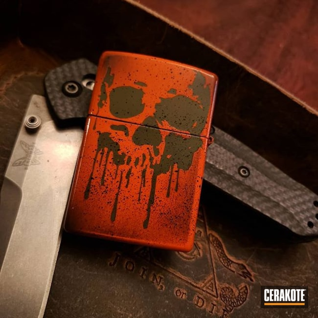 Cerakoted: Lighter,Skull,Graphite Black H-146,HIGH GLOSS CERAMIC CLEAR MC-160,Distressed,MAGPUL® O.D. GREEN H-232,HI-VIS ORANGE H-346,Zippo