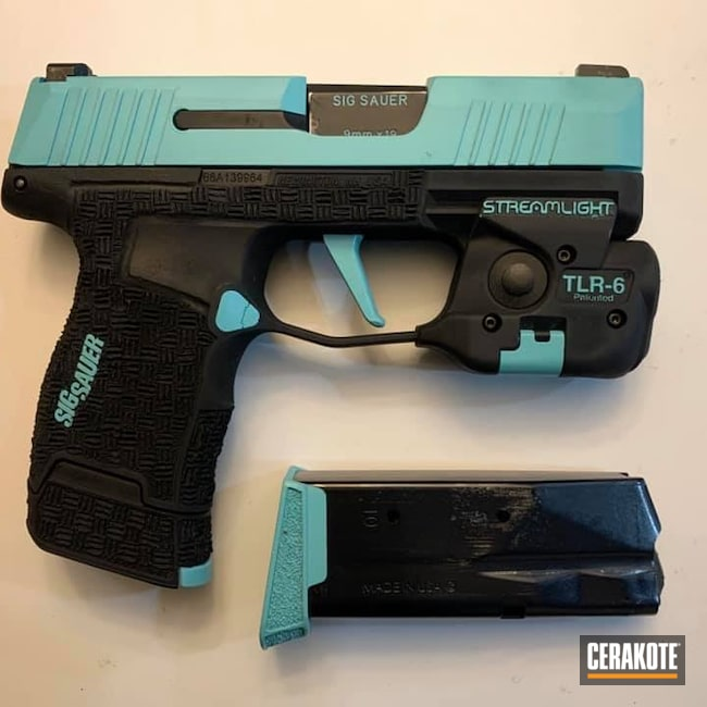 Cerakoted: S.H.O.T,9mm,Robin's Egg Blue H-175,Sig Sauer P365,Two Tone,p365,Armor Black H-190,Pistol,Sig Sauer,TLR6 Tactical Light