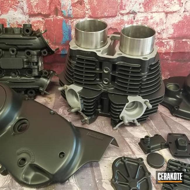 Cerakoted: Motorcycle Engine,Engine Parts,Motorcycles,Yamaha,Automotive,CERAKOTE GLACIER BLACK C-7600,High Temperature,Motorcycle